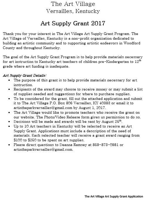 Art Teacher Grant Application